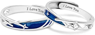 ANAZOZ Wedding Rings Set for Him and Her, S925 Sterling Silver Cubic Zirconia Silver Blue Adjustable His and Her Rings