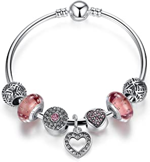 Presentski Charm Bangle with Silver Plated Charms Glass Beads and Heart Pendant for Girls Women
