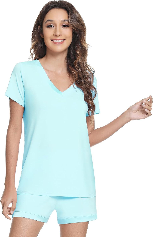 NACHILA Women's Pajamas Set Bamboo Sleepwear Short Sleeve Pj Set S-XXL