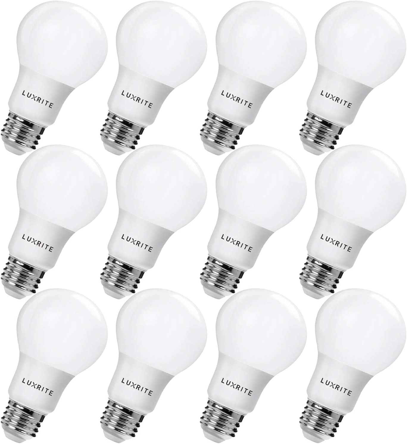 Luxrite LR21393 12-Pack Regular discount 9W LED Bulb Memphis Mall Light A19 Equivalent 60W