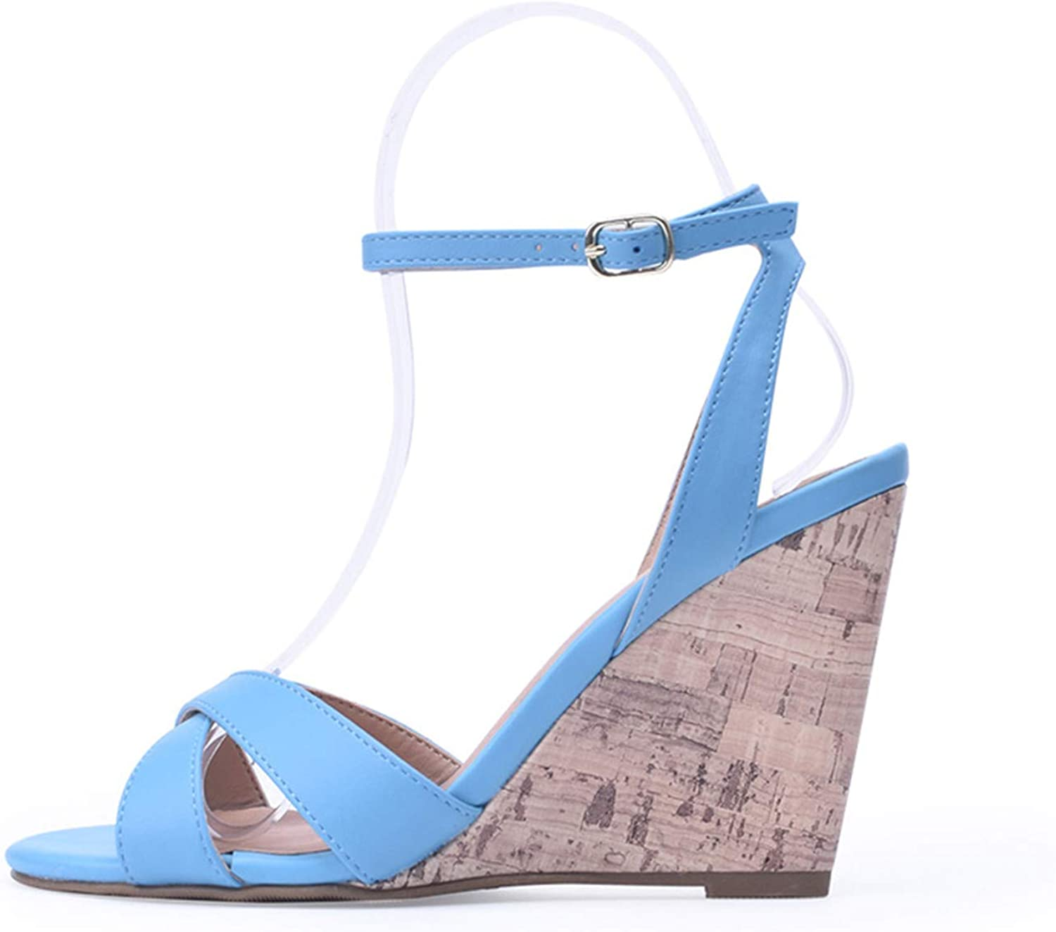 Huntty High Heels Sandals Female shoes Bohemian Sandals 10cm bluee White Floral