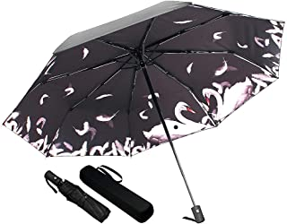 Umineux Auto Open Close Umbrella Windproof Folding Umbrella for Women Men, Compact Sun&Rain 10 Ribs Umbrellas with Travel Case