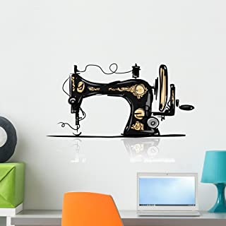 Wallmonkeys FOT-73852848-24 WM269474 Sewing Machine Retro Sketch for Your Design Peel and Stick Wall Decals H x 24 in W, 24