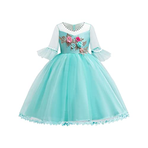 a8a0a0b2320c Blevonh Easter Dresses for Girls Children Boutique Dresses Round Neck 3/4  Bell Sleeve Satin