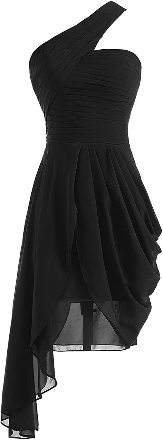 Fanciest Women's One Shoulder Black Bridesmaid Dresses Short Prom Homecoming Gowns US6