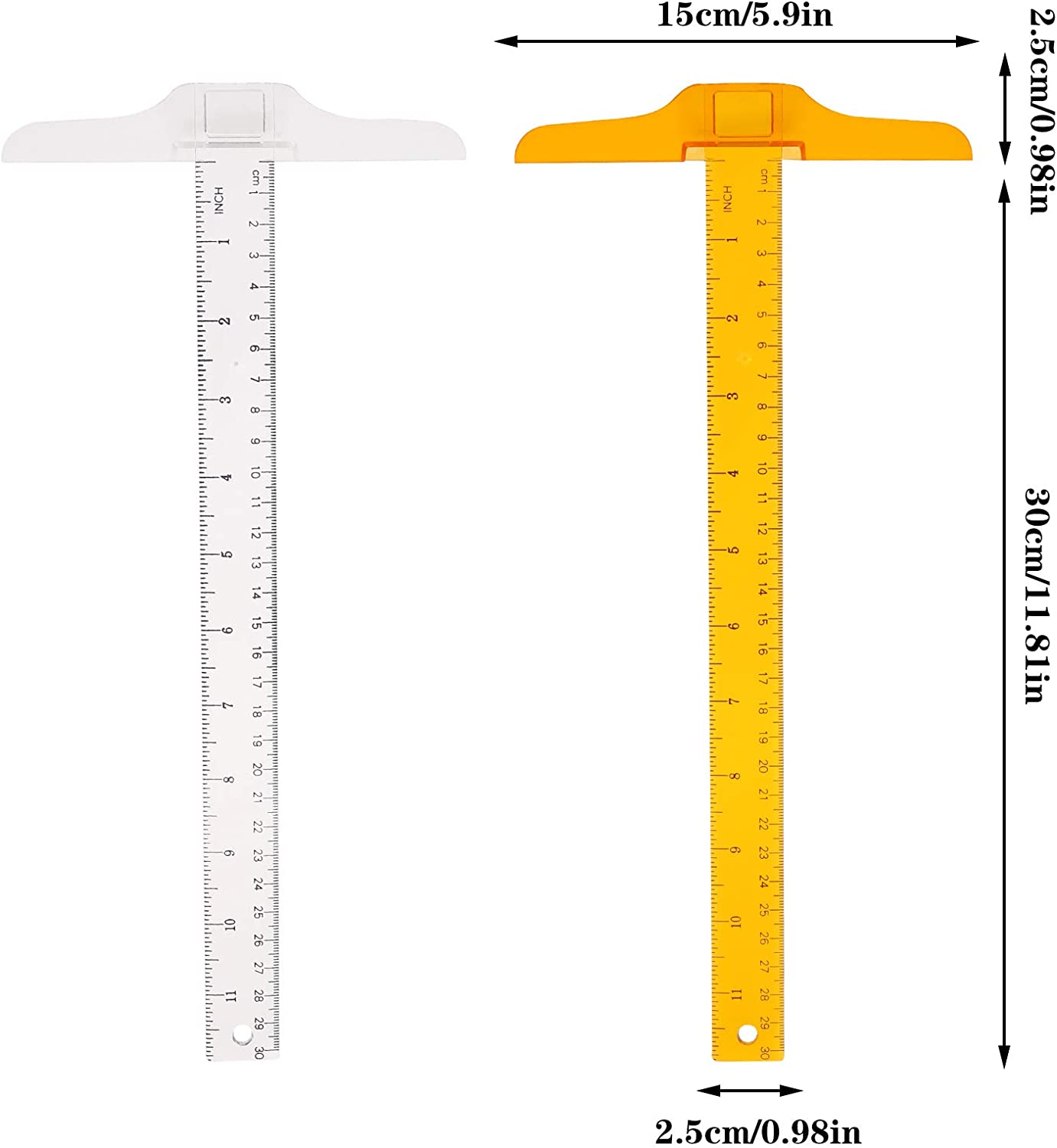Orange 12 Inch// 30 cm T Shape Ruler Plastic Transparent T-Ruler Junior T-Square Academic T-Ruler for Drafting and General Layout Work Xinzistar 4 Pcs T-Square