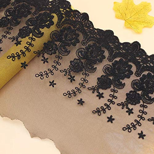 Spitzenbordüre mit Schmetterlingen, für Braut- und Hochzeitskleider, Kleidung oder Gardinen, für DIY-Projekte, Länge: 4,5 m, Breite: 15 cm Länge: 1,5 m, Schwarz