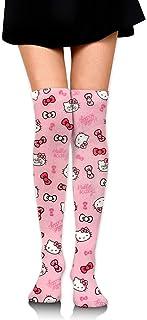 Smalaty, Calcetines de compresión Thigh High Socks para mujer, cálidos, de Hello Kitty, para botas, extra largos