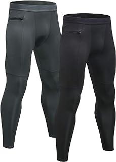 2 Piezas Mallas Hombre Running Leggings Deporte Pantalones Largos de Compresión