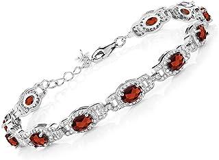Gem Stone King Red Garnet 925 Sterling Silver 7 Inch Women Tennis Bracelet 9.87 Ct Gemstone Birthstone Oval With 1 Inch Extender