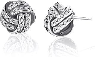 Sparkling Love Knots Stud Earrings, Twenty Plus, Weave Round Small Stud Earrings for Women & Girls