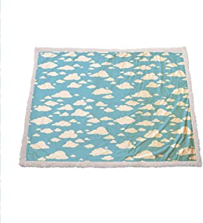 Miles Ralph Blue Flannel Blanket Clear Summer Sky Pattern with Clouds Dotted Background Cartoon Style Kids Design Throw Blanket for Couch 60