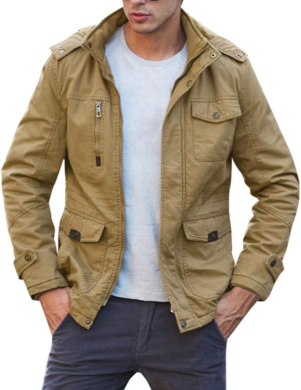 Men's Autumn Winter Casual Pocket Button Zipper Hoodie Thermal Top Coat (color   Khaki, Size   XXXL)