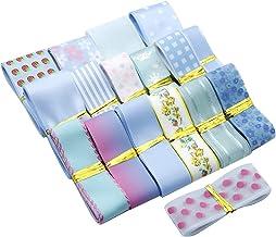 "David Angie 17 Yard Grosgrain Satin Organza Fabric Ribbon Set, 1"" 1-1/2'' 5/8"" Blue Ribbon Assortment, Solid Color Ribbon,..."