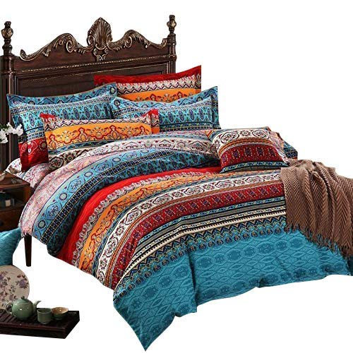 USTIDE Home Textile, 4-piece Fashion Boho Duvet Cover Set, Fitted Sheet & 2 Pillowcase Modern Bohemian Bedding Set 100% Cotton Brand Bedding Set Single Size