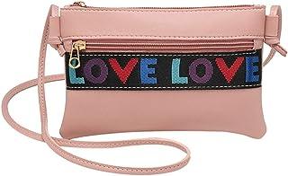 Wultia - Bags for WAMEN Women Letter Shoulder Bag Messenger Satchel Tote Crossbody Bag Phone Bag Bolsa Feminina *0.92 Pink