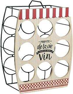 CAPRILO. Original Botellero Decorativo de Metal y Madera para 8 Botellas de Vino. Muebles Auxiliares. Menaje de Cocina. Re...