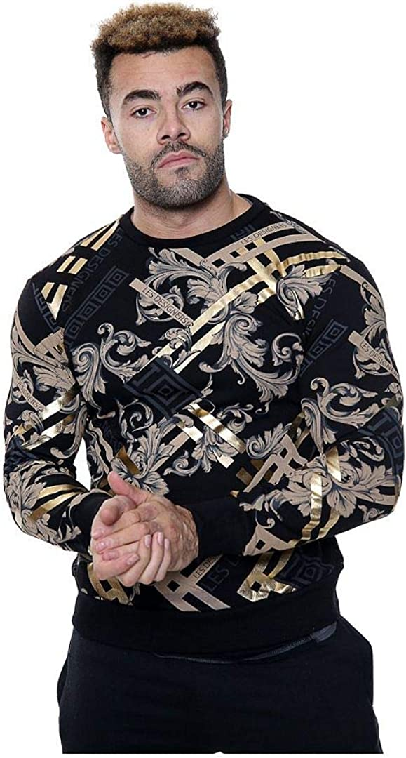 H/&F /® Mens Long Sleeve Round Neck Les Designer Overall Floral Print with Gold Foil Ribbed Cuff Sweatshirt Fashion Wear Party Wear Top Size S M L XL