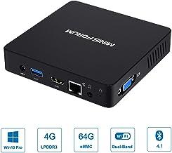 Z83-F Mini PC Fanless Silent Desktop 4 گیگابایت رم، 64 گیگابایت حافظه eMMC Micro، پردازنده چهار هسته ای اینتل تا 1.92 گیگاهرتز، 2W SDP، 1000M LAN، دو باند WiFi، BT4.2، پورت های HDMI و VGA، اینتل ویندوز 10 Pro Mini PC