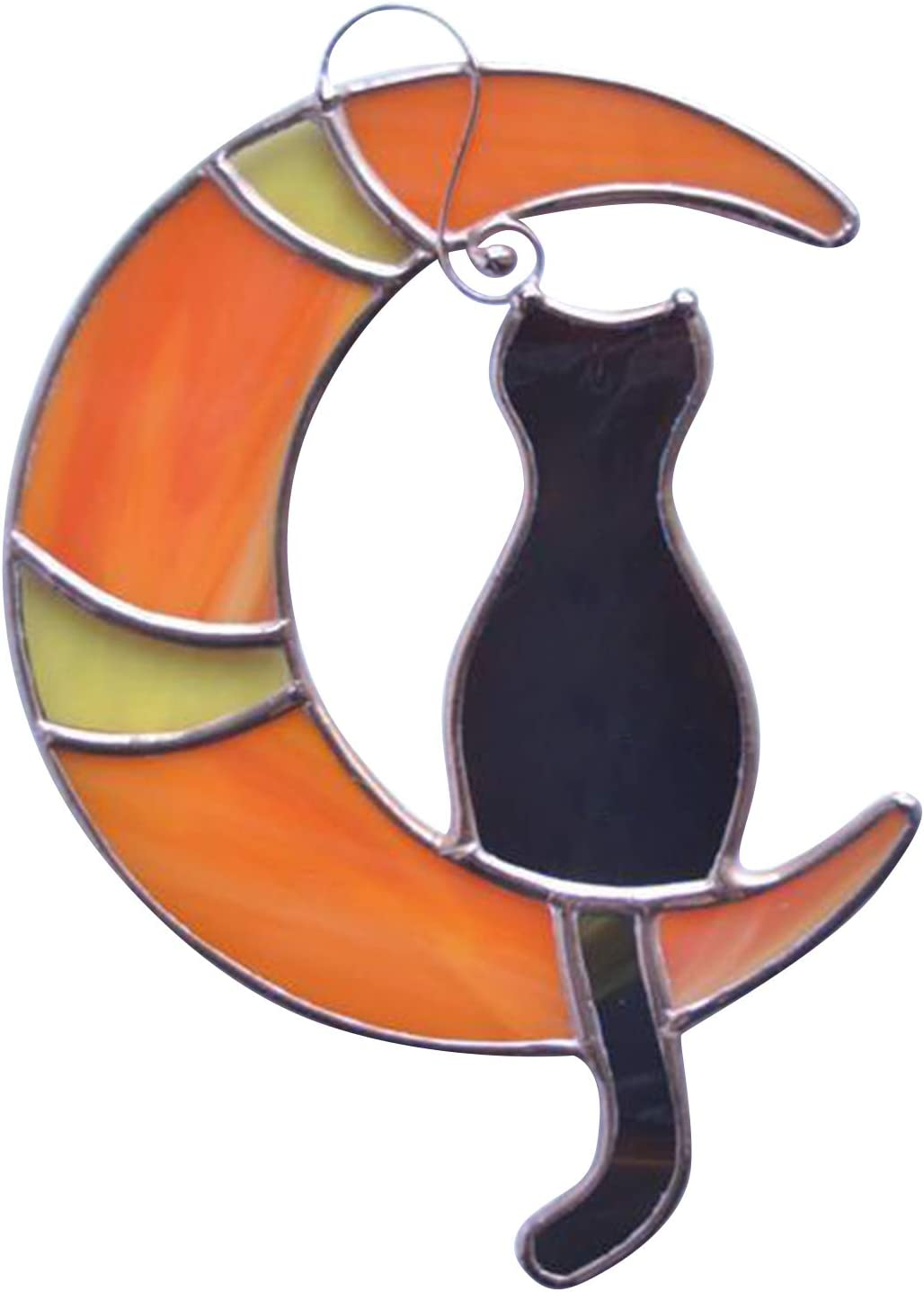 wastreake Sale SALE% OFF Stained Glass Cat On The Window Selling and selling Moon Suncatche Hanging