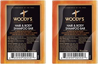 Woody's Hair & Body Shampoo Bar for Men, All Purpose Bar for Hair and Body, 3 oz, 2-Pack