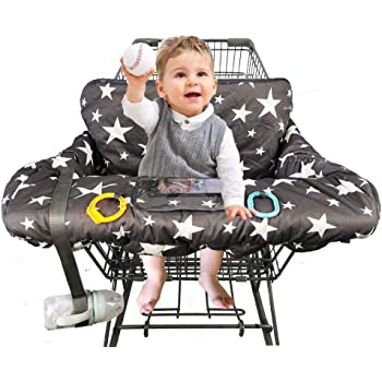 Storage Bag Included Baby Shnookums Universal Fit Shopping Cart or High Chair Cover for Baby and Toddlers Grey Space High Chair Cover and Shopping Cart Cover 2 in 1