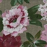 Leinenstoff - Blumen in voller Blüte | Grundfarbe: Natur,