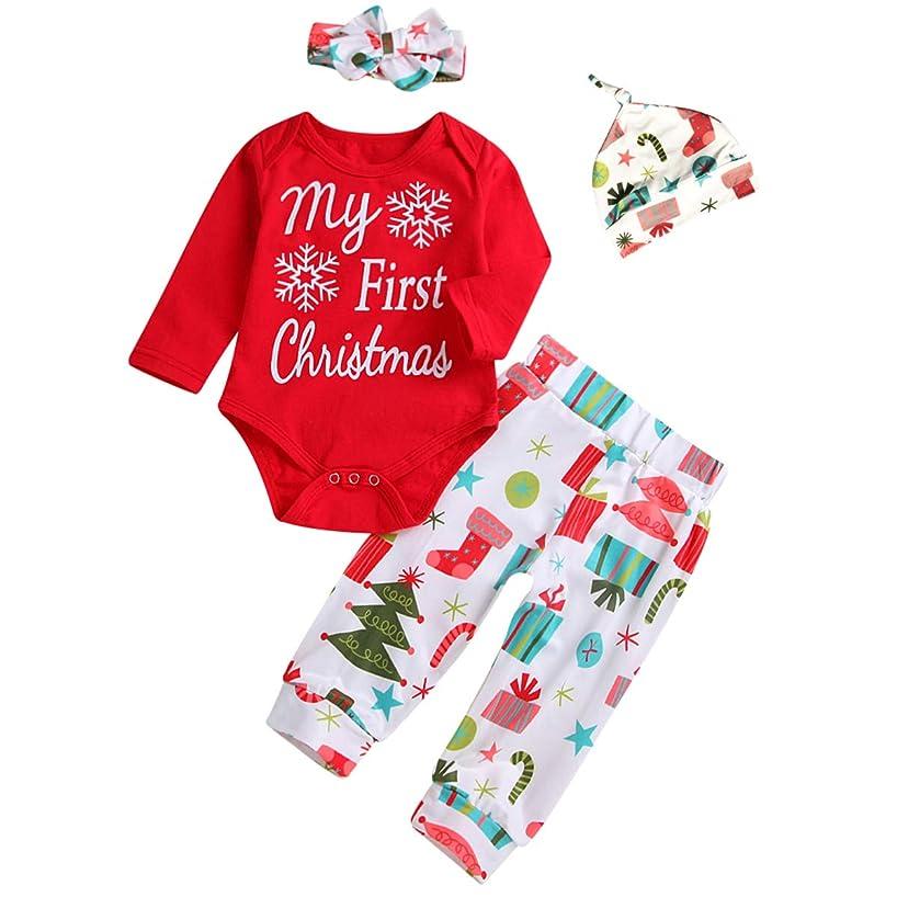 4Pcs Newborn Baby Girls My First Christmas Romper Pants Hat Headband Holiday Outfit Set (3-9M)