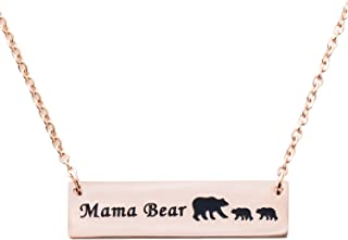 ELOI Mama Bear Necklace Cubs Stainless Steel Bar Pendant Ideas Gifts for Mom Grandma