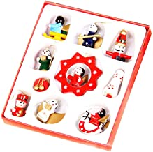 Sanwooden Lovely Christmas Hanging Toys 10Pcs Cute Wooden Xmas Tree Hanging Ornament Toy Set Christmas Gift Home Decor Fas...