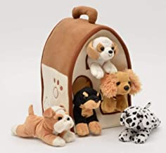 Plush Boy Dog House Carrying Case with Five Stuffed Animal Dogs