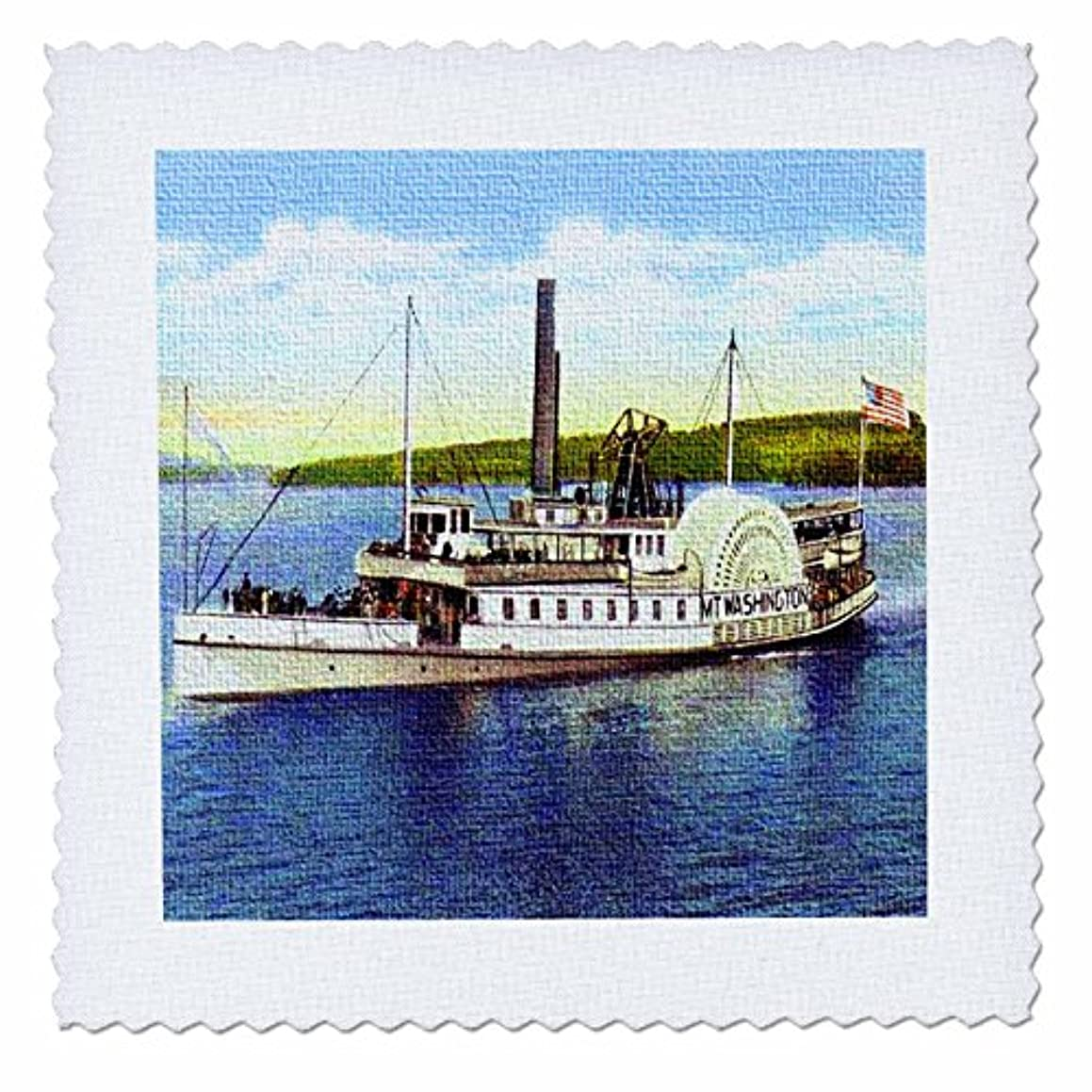 3dRose qs_44542_2 Steamer Mt. Washington on Lake Winnipesaukee-Quilt Square, 6 by 6-Inch