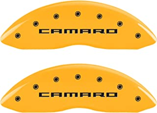 MGP Caliper Covers 14033SCR5YL Caliper Cover (Set of 4, Front Camaro-Engraved Rear: Gen 5/RS, Yellow Powder Coat Finish, Black Characters)