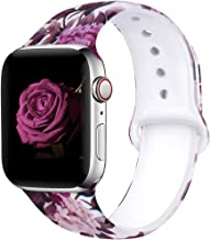 EXCHAR Compatible with Apple Watch Band 40mm 38mm Fadeless Pattern Printed Floral Bands Silicone Replacement Band for iWatch Series 4 Series 3/2/1 for Women Men M/L Flower J13