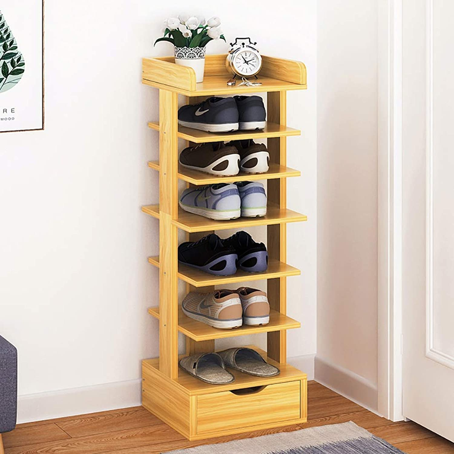 4 5 6 7 8-layer shoes Rack Shelf Flower Stand Bookshelf Storage Shelf shoes Cabinet Multifunction Household Doorway Entrance Living Room Space Saving (color   B, Size   27  24  106CM)