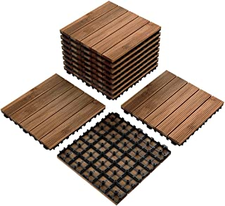 Yaheetech Patio Pavers Wood Flooring Deck Tiles Interlocking Wood Patio Tiles 11 Pack Tiles Patio Garden Deck Poolside Indoor Outdoor 12 x 12