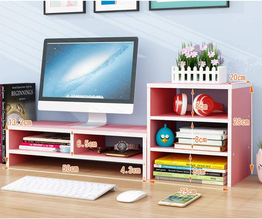 LOVEHOME Wood Monitor Stand Riser,Wood Computer Monitor Stand Desk Organizer with Shelf Pink 75x20x13.2cm(30x8x5inch)
