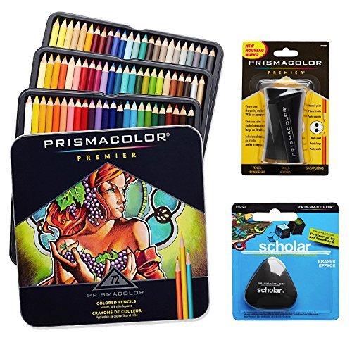 Caja de 72 lápices de colores de Prismacolor, con goma triangular y sacapuntas