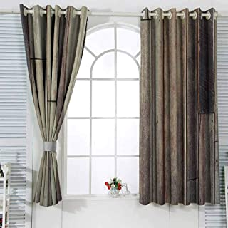 VIVIDX Retro Waterproof Window Curtain Wooden Antique Planks Flooring Wall Picture American Style Western Rustic Panel Graphic Print W108x72L Inches Concept Customized Curtains Brown