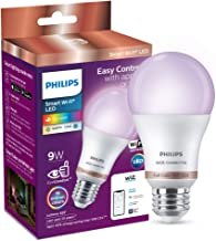 Philips Smart Wi-Fi LED Bulb E27 9-Watt WiZ Connected (16 Million Colors + Warm White/Neutral White/White + Dimmable + Pre-set modes) (Compatible with Amazon Alexa and Google Assistant)