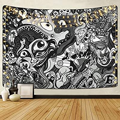 Livole Psychedelic Tapestry Trippy Tapestry Arabesque Hippie Tapestries Black and White Tapestry Wall Hanging for Room (51.2 x 59.1 inches)