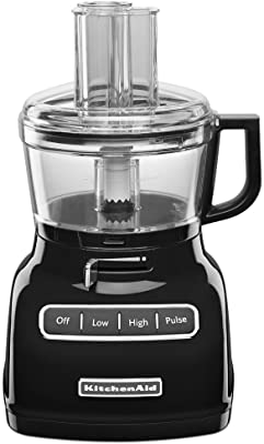 KitchenAid KFP0722OB 7-Cup Food Processor with Exact Slice System - Onyx Black (Renewed)