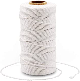 Cotton Bakers Twine,328 Feet 2MM Natural White Cotton String for Crafts,Gift Wrapping Twine,Arts & Crafts, Home Decor, Gift Packaging(Beige)