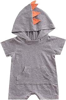 4ea82f7fe7f3 Cuekondy Toddler Baby Girls Boys 2019 Fashion Dinosaur Hooded Jumpsuit  Romper Summer Short Sleeve Bodysuit Playsuit