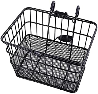 Ohuhu Bike Basket Rust-Proof Quick Release Front Handlebar Bicycle Lift Off Baskets with Holder, Mesh Bottom