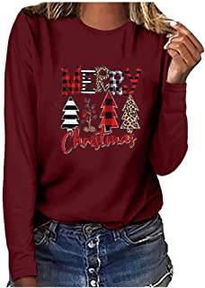 Merry Plaid Tree Long Sleeve Tops for Women, Casual Crew...
