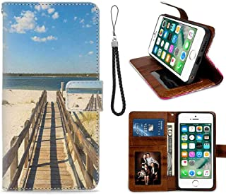 mophinda Apple iPhone 6 Plus/iPhone 6s Plus (5.5-Inch) Phone Wallet Case Beach,Perdido Beach and Long Pier Deck Over Sand Gulf of Mexico South America Resort Theme,Cream Blue Synthetic Leather