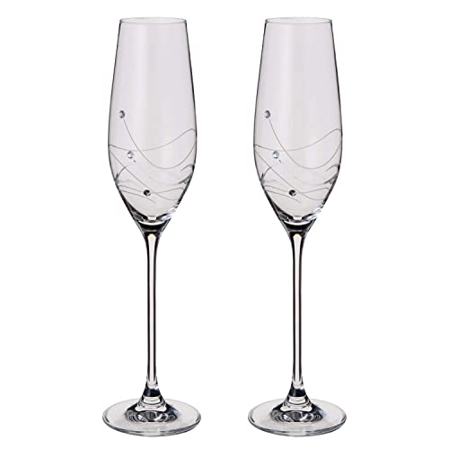 aa5b5e7357d Dartington Crystal - Glitz Champagne Flutes, Set of 2 - Gift Boxed
