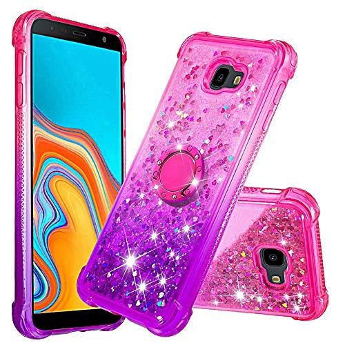 WJMWF Compatible con Funda Samsung Galaxy J4 Plus con Anillo Quicksand Glitter Serie de Degradado de Color Suave TPU Silicona Bumper Antigolpes Caso Rosa Arriba y Púrpura Abajo