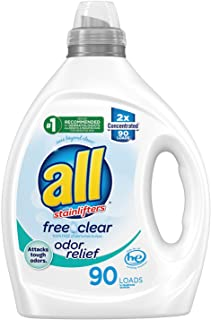 all Laundry Detergent Liquid, Free Clear for Sensitive Skin, Odor Relief, Unscented and Hypoallergenic, 2X Concentrated, 9...